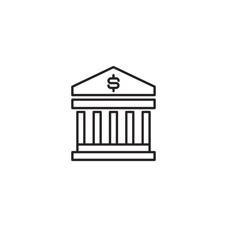 Simple line icon of bank sign vector illustration