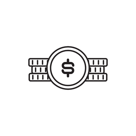 Simple line icon of coin with dollar sign Illusztráció