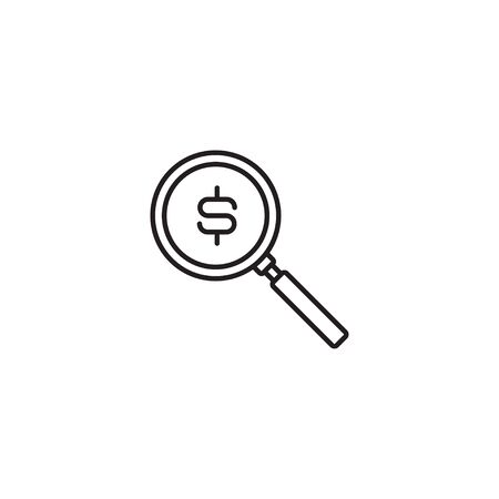 Simple line icon of magnifier with dollar sign Illusztráció