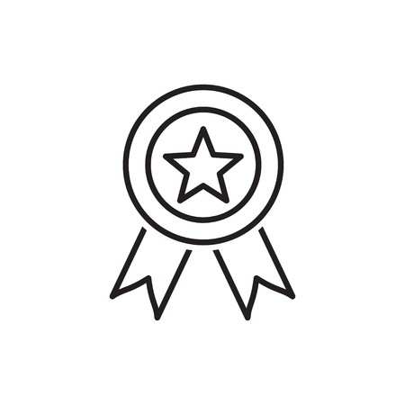 Line icon of award medal with star Illusztráció