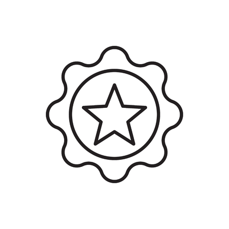Line icon of award badge with star