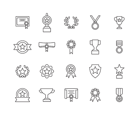 Simple Set of Awards Related Vector Line Icons. Contains such Icons as Medal, star,awardr and more.