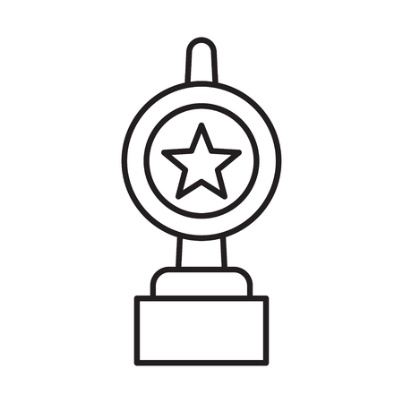 Line icon of award cup with star. Champions cup or sign