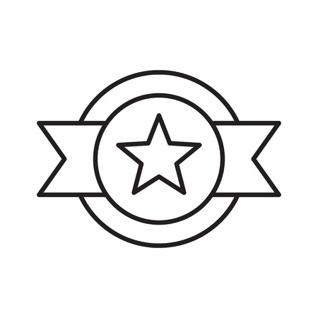 Line award badge icon with star
