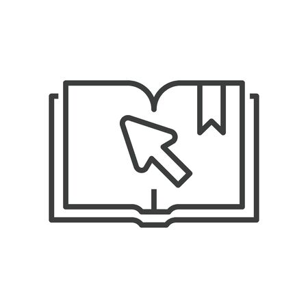 Online education icon of book with arrow