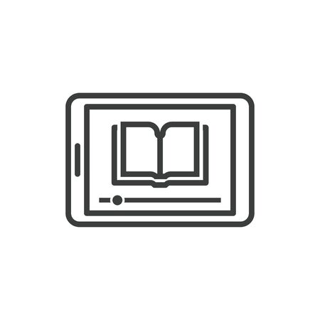 Online education icon of tablet with lessons from e-book
