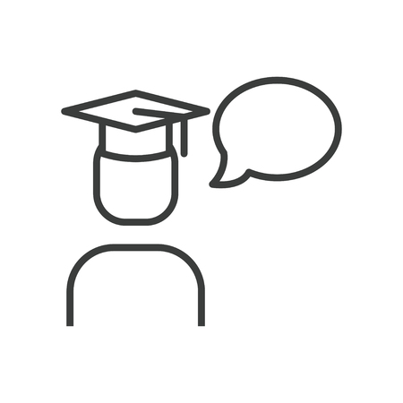 Line icon of graduate student with speech