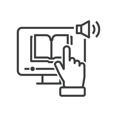 Line icon of hand in front of computer which click online e-book with audio lessons