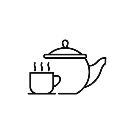 Teapot line icon with cup vector illustration