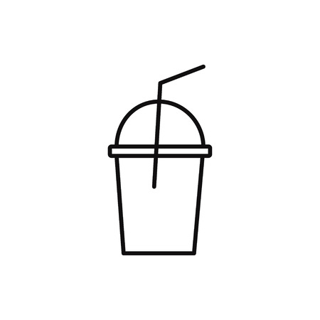 Tea cup bottle line icon