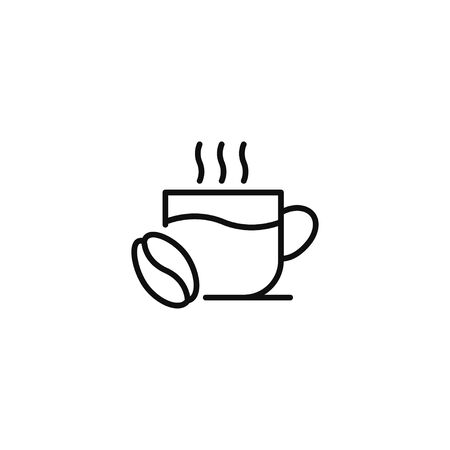 Cup with coffee bean linear icon vector illustration