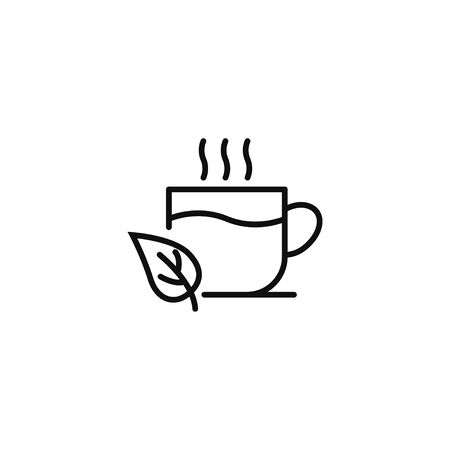 Cup with tea leaves linear icon vector illustration