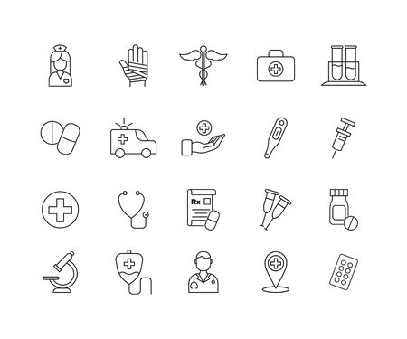Simple Set of Medicine Related Vector Line Icons.