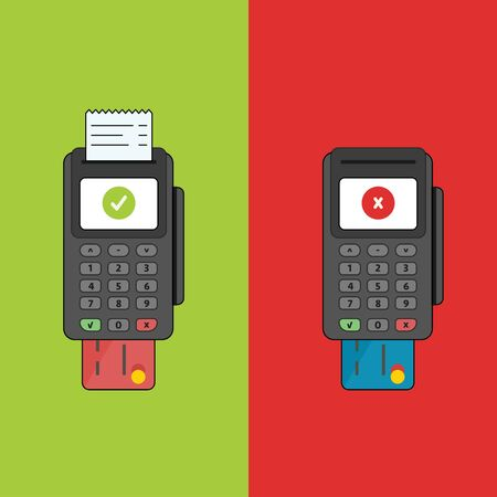 Pos terminal transaction of paying by card on green and red background. Accept and decline process.