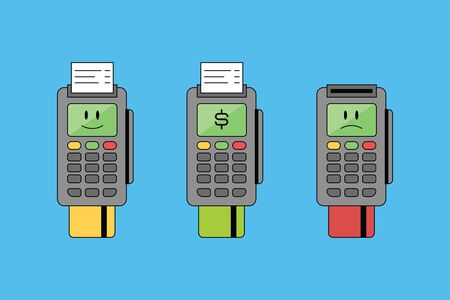terminal with bank card and receipt, finance. Vector emoji icon and illustration with smile, sad and dollar sign.