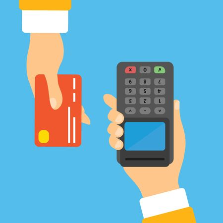 POS terminal confirms the payment by debit credit card, invoce with NFC payments concept. Isometric NFC payments concept  Illusztráció