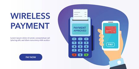 Vector payment machine and credit card banner. POS terminal confirms the payment by debit credit card, invoce. Vector illustration in flat design. NFC payments concept. Isometric NFC payments concept