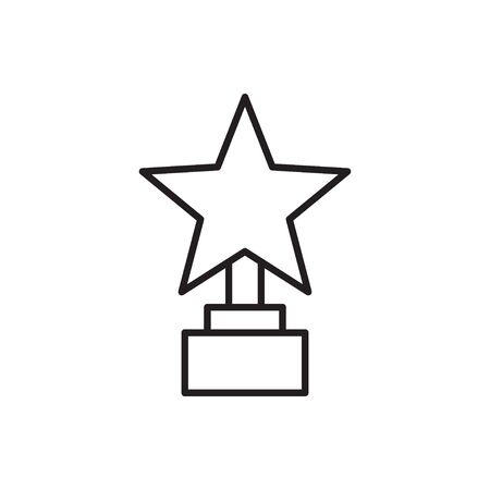 Line icon of award trophy. Winner cup with star.