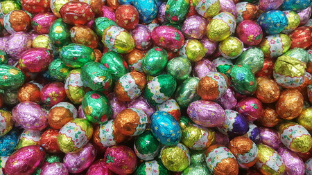 Chocolate candy Easter egg wrapped in foil