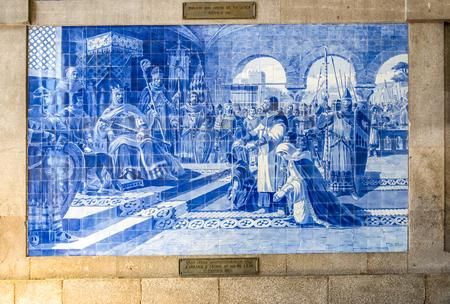 Azulejo at So Bento Railway Station, Porto, Portugal Editorial