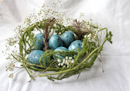 easter eggs in nest Stock Photo - 130658564