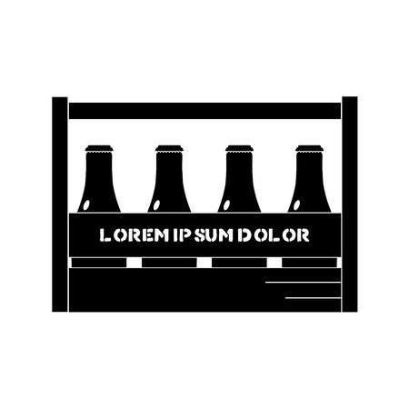 Vector illustration of beer box with handle and bottles in black color