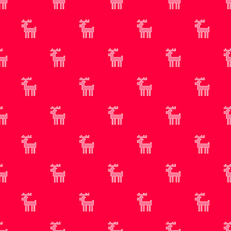 Vector pattern with red background and white cross stitched deers