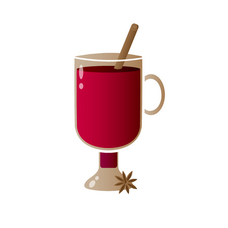 Vector illustration with irish glass with mulled wine, cinnamon stick and cardamon