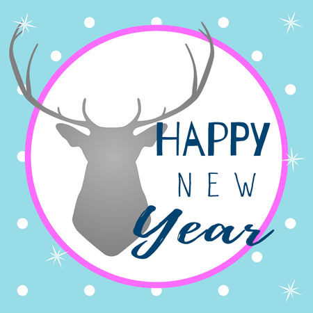 Vector Illustration on a blue  background with with snowflakes, phrase Happy New Year and grey silhouette of head deer