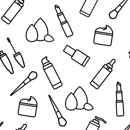 Vector Illustration Seamless Pattern Flat Icons Makeup And