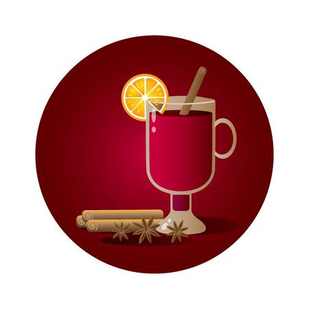 Vector illustration with irish glass with mulled wine, cinnamon stick, cardamon and orange slice on red background