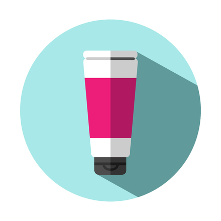 Vector flat colorful, bright illustration icon with tooth paste (or balm, lotion, cream).  イラスト・ベクター素材