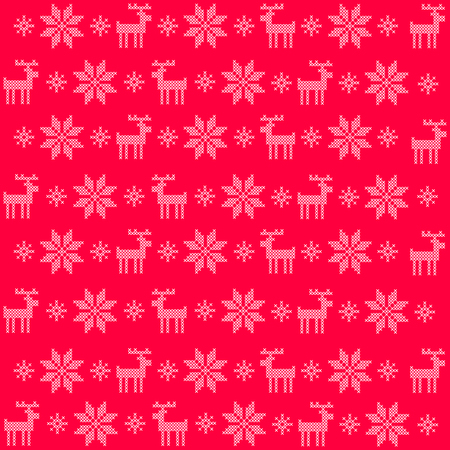 Vector illustration pattern with red background and white cross stitched snowflakes and reindeers Illustration