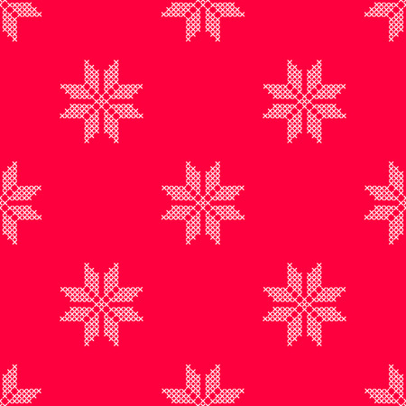 Vector illustration pattern with red background and white cross stitched snowflake Illustration