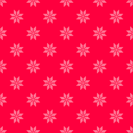 Vector illustration pattern with red background and white little cross stitched snowflake Illustration