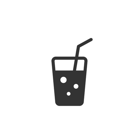 Vector illustration icon of the glass with beverage and tube
