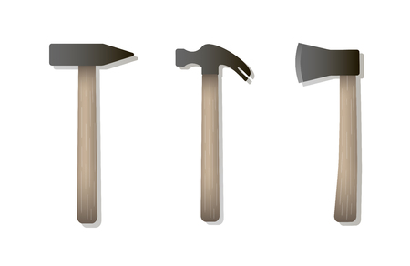 Vector isolated icons of hammer, nail puller, axe with wooden handles. Home repair and work tool sign symbol. Flat design. White background Illusztráció