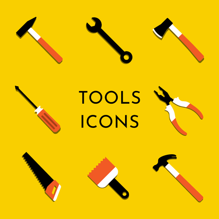 Colorful vector icons set with hammer, nail puller, axe, saw, pliers, paintbrush, screwdriver. Home repair and work tools sign, symbol. Flat design. Yellow background