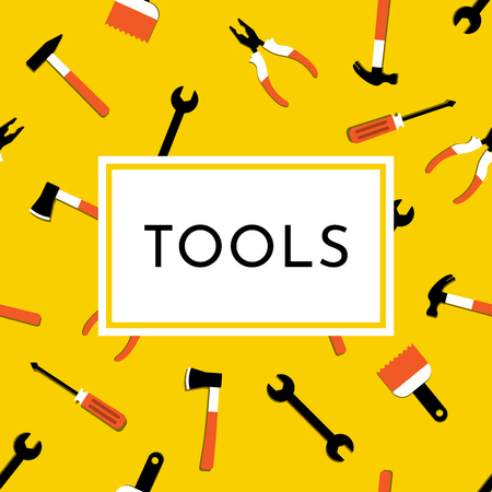Colorful vector illustration with hammer, nail puller, axe, saw, pliers, paintbrush, screwdriver. Home repair and work tools sign, symbol. Flat design. Yellow background. Text Tools