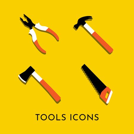 Colorful vector isolated icons of hammer, nail puller, axe, saw, pliers. Home repair and work tool sign symbol. Flat design. Yellow background