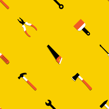 Colorful vector seamless pattern with hammer, nail puller, axe, saw, pliers, paintbrush, screwdriver. Home repair and work tools sign, symbol. Flat design. Yellow background