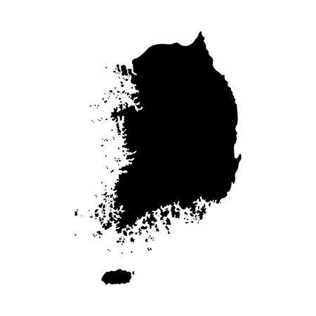 Vector isolated simplified illustration icon with black silhouette mainland of South Korea. White background
