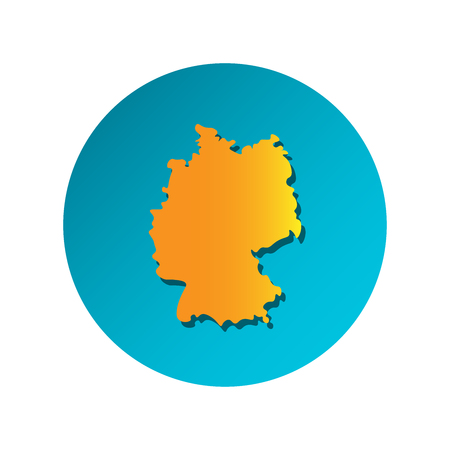 Vector isolated simplified illustration icon with orange silhouette of Germany. Blue background 向量圖像