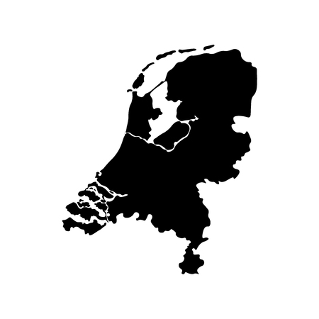 Vector isolated simplified illustration icon with black silhouette of Netherlands (Holland). White background