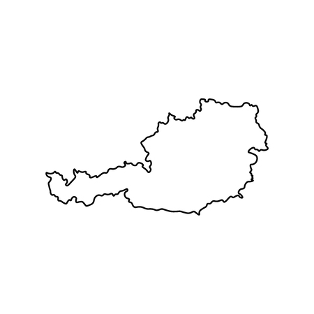 Vector isolated simplified illustration icon with black line silhouette of Austria map