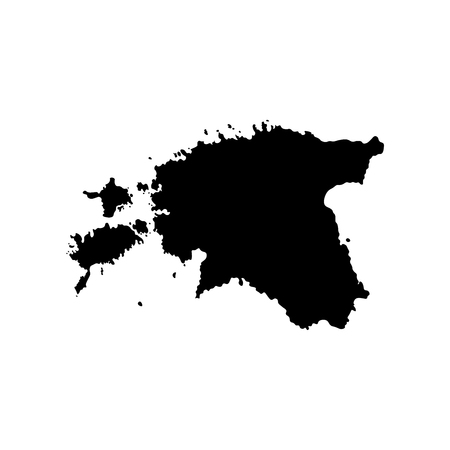 Vector isolated simplified illustration icon with black silhouette of Estonia map. White background