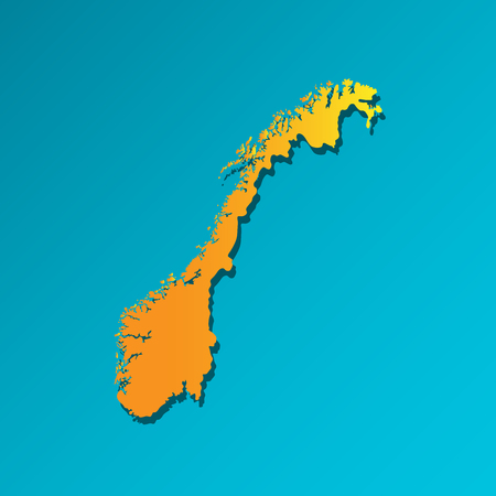 Vector isolated simplified illustration icon with orange silhouette of Norway, scandinavian country. Blue background