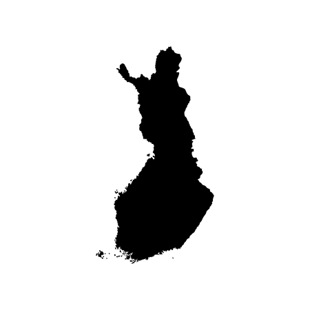 Vector isolated simplified illustration icon with black silhouette of Finland (scandinavian country) map. White background Illustration