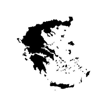 Vector isolated simplified illustration icon with black silhouette of Greece map. White background