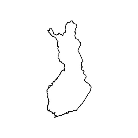 Vector isolated simplified illustration icon with black line silhouette of Finland (scandinavian country) map. White background